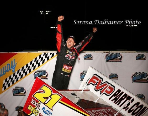 Brian Brown stands proud after winning the 24th annual Arnold Motor Supply 360 Knoxville Nationals. (ASCS / Serena Dalhamer Photo)