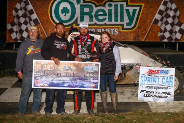 Robert Ballou in victory lane after winning Friday night's USAC AMSOIL Sprint Car National Championship feature at Bubba Raceway Park in Ocala, Florida. (Rich Forman Photo)