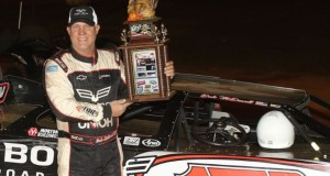"""Dale McDowell enjoying Victory Lane at """"The Leftover""""."""