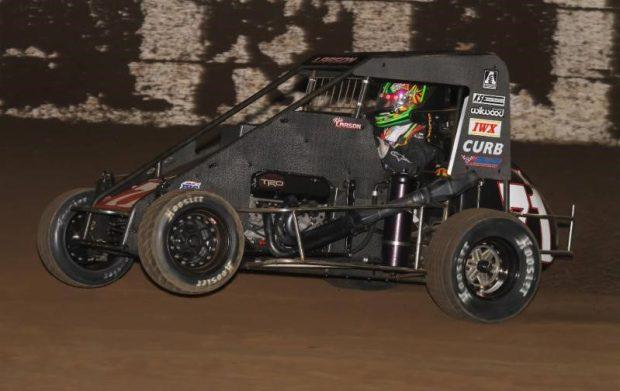 "Kyle Larson won his second career ""Turkey Night Grand Prix"" Thursday night at California's Ventura Raceway. (RICH FORMAN PHOTO)"