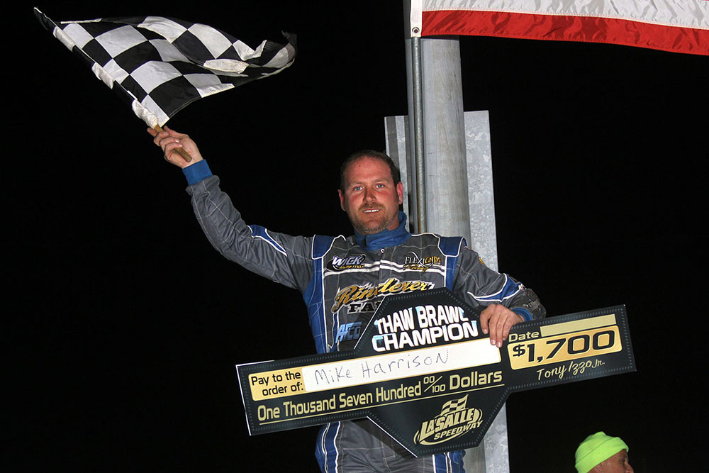 Mike Harrison takes $1700 Thaw Brawl UMP Modified win at La Salle Speedway!
