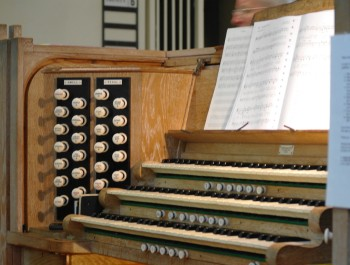 The manuals and stops of St Mark's pipe organ