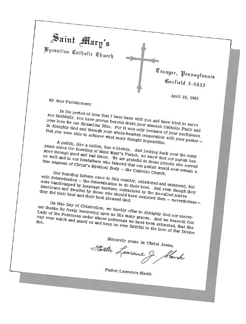 Letter from Rev. Lawrence J. Slavik