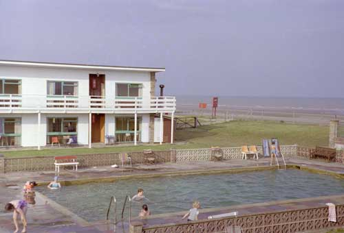 View of Motel and pool showing proximity to beach, August 1980