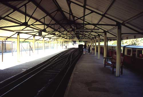 Inside the terminus. Note the engine release road between the main tracks to allow the engines to be turned around on the turntable. The points are sprung and don't need any controls.