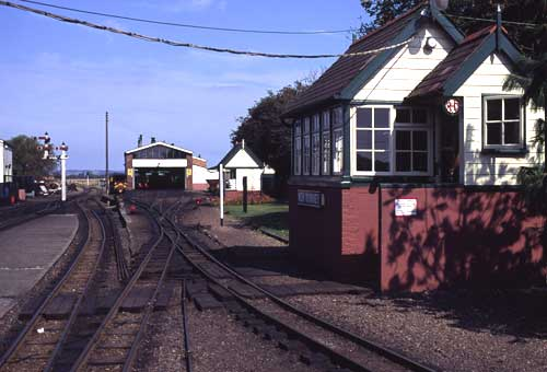 Looking back towards Hythe, with the signal box on the right and the engine shed in the distance