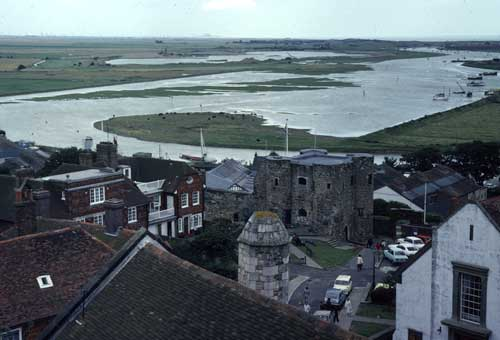 The Ypres Tower and the flooded River Rother (1980). Dungeness Power station can be seen in the very distance, just left of centre