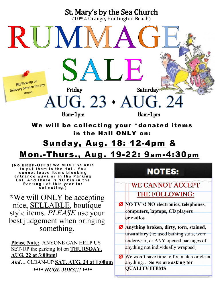 Parish Rummage Sale Aug 23 & 24 – St  Mary's by the Sea
