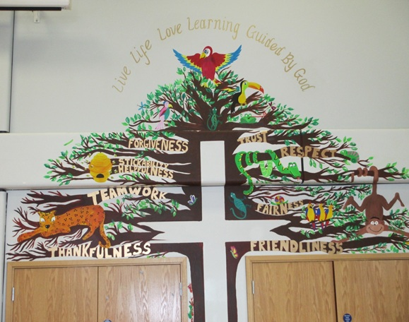 Image of art on school wall