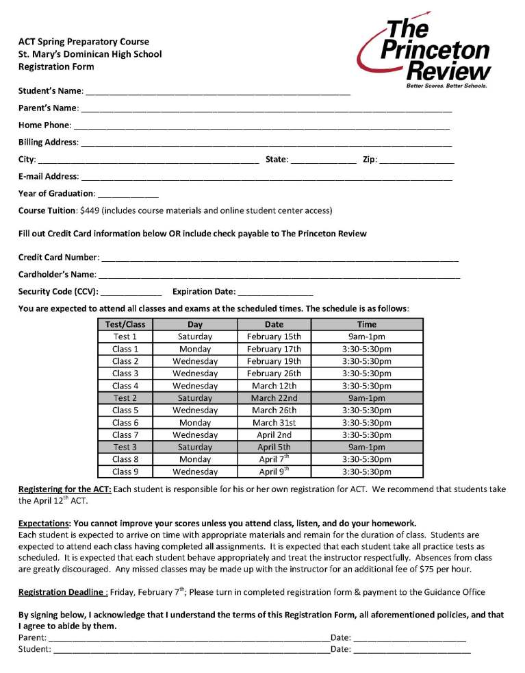 ACT 1404 Dominican Course Registration Form2014
