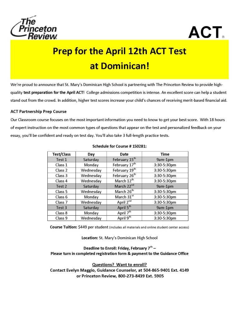 Dominican ACT 1404 Course Flyer2014