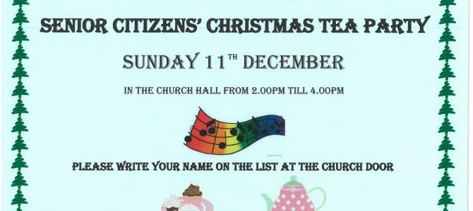 SENIOR CITIZENS' CHRISTMAS TEA PARTY  –   SUNDAY 11 DECEMBER