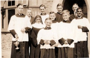 Father Lury and servers in 1933
