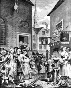 "Hogarth's ""Noon"" 1738 (Greek Church on left)"