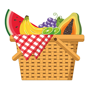 Picnic basket with delicious food vector illustration graphic design