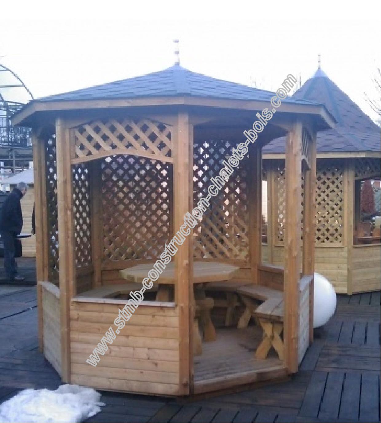Kiosque en bois trait autoclave Aix livr gratuitement en kit