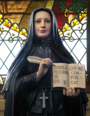 statue of St. Mother Frances Xavier Cabrini in Mount St. Michael chapel