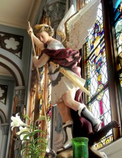 statue of St. Michael the Archangel in Mount St. Michael chapel