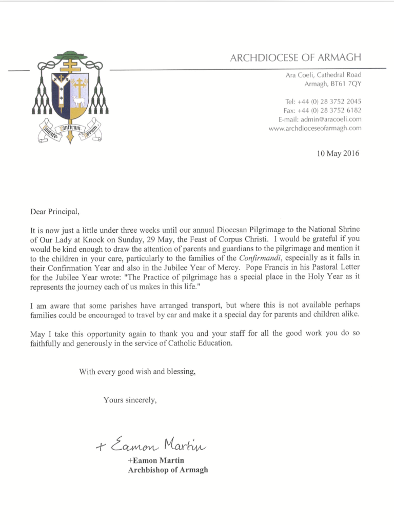 Letter from Archbishop Eamon, May 2016