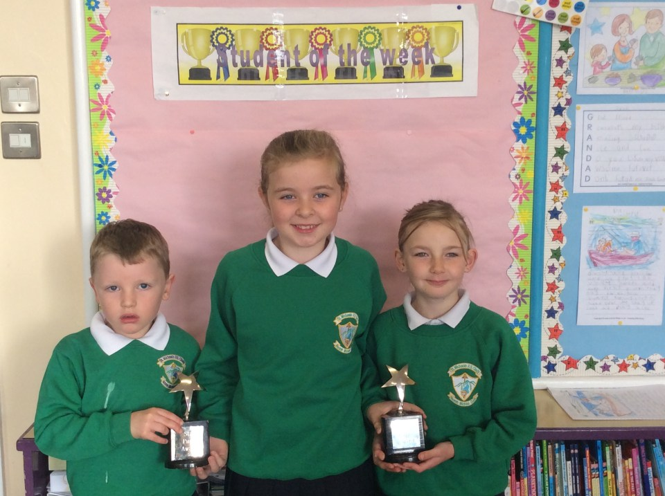 Well done to Katie, Orlaith and Tom our pupils of the week.