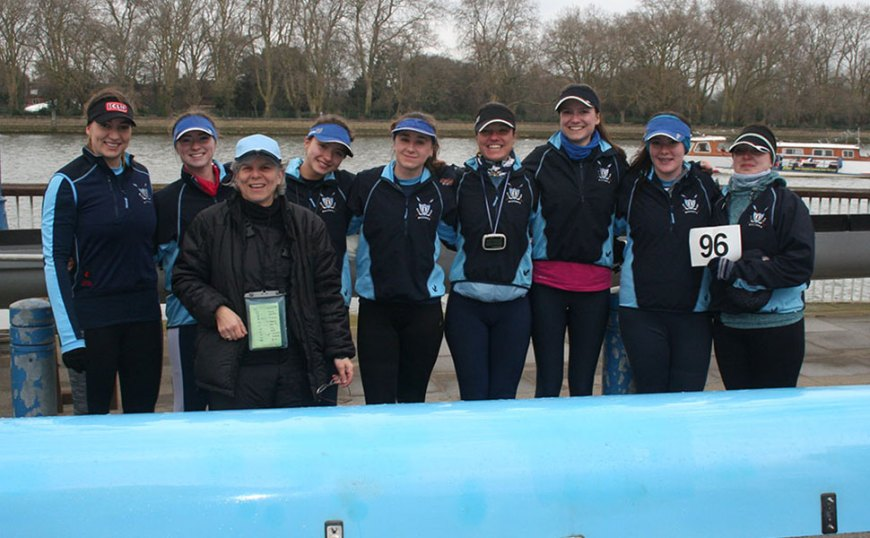Left to right: Kat Harris, Olivia Hooper, Martine Kushner (cox), Louise Shorten, Jade Hellett, Jaione Echeveste, Mia Hartwell, Tash Holdaway and Ali Young.