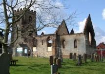 St Nicholas' Church Radford Semele after the fire in March 2008