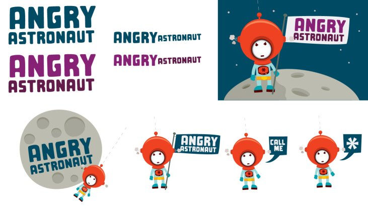 Logo and character design for Angry Astronaut