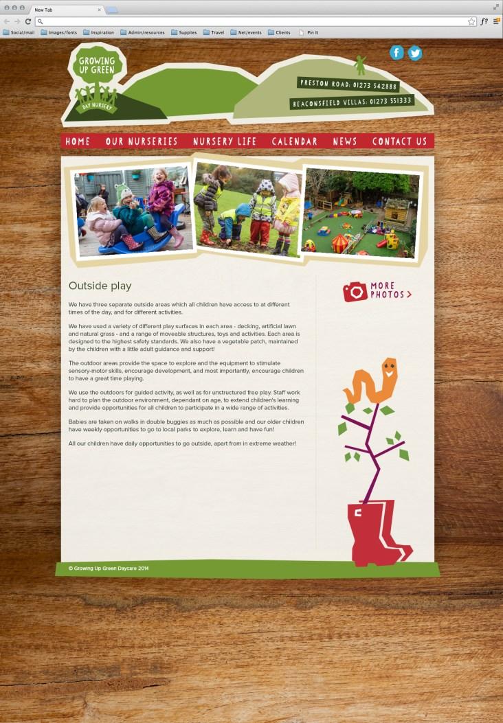 Nursery website page