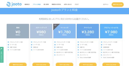 Jootoの料金プランページ
