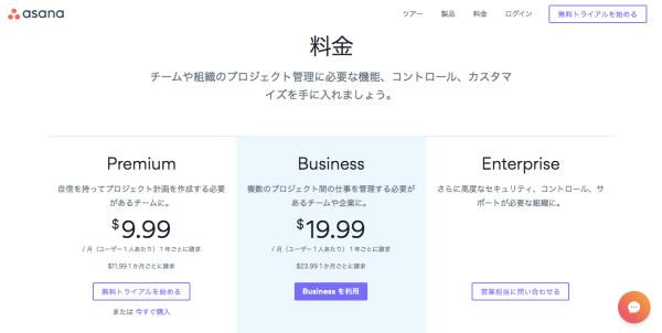 Asanaの料金プランページ