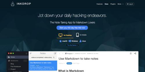 Inkdropのトップページ