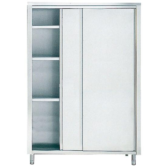 armoire inox de rangement avec portes coulissantes et 3 etageres 1300x700 mm