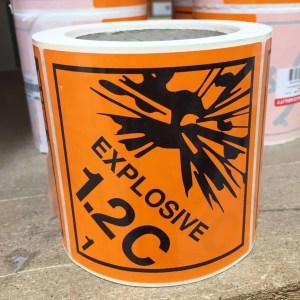 explosive labels 1.2c