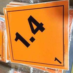 explosive labels, 1.4 placard