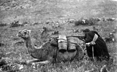 Soldado rifeño utilizando su camello como parapeto guerra Africa