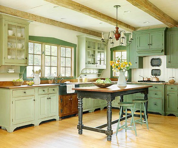 antique green kitchen cabinets Create Your Own Farmhouse Kitchen