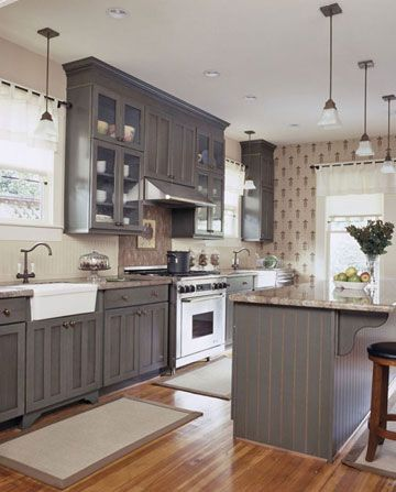 gray kitchen floor polished brass faucet 6 design ideas for cabinets country