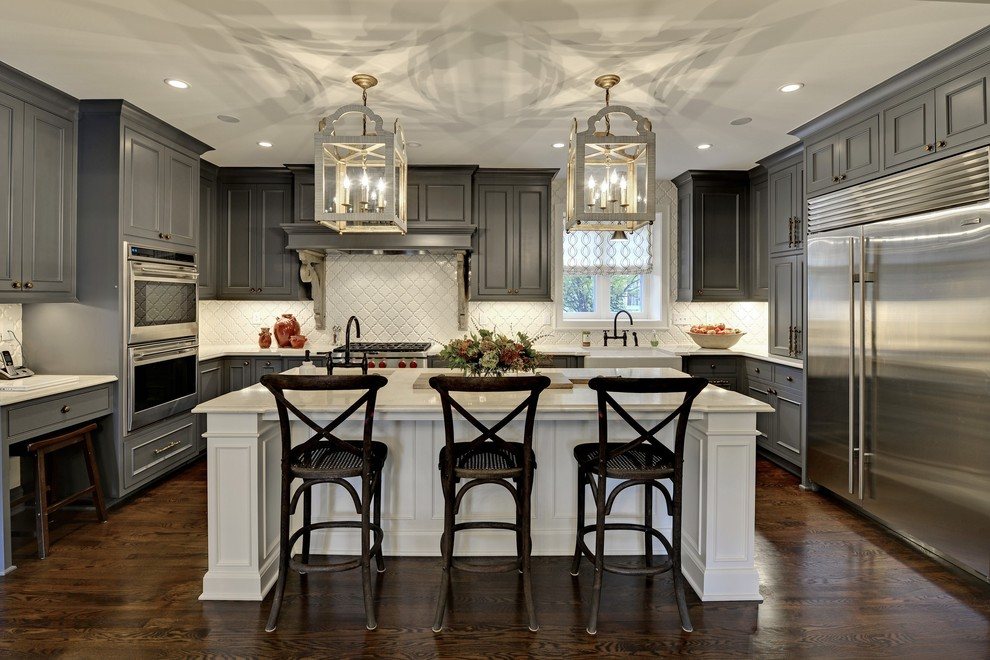 gray kitchen floor island cart with seating 6 design ideas for cabinets two tone traditional