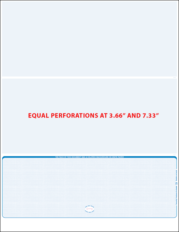 Bottom Blue Linen Equal perforation Blank Laser Check