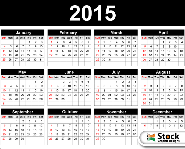 2015 Calendar Template Vector Free Vector Photoshop Brushes