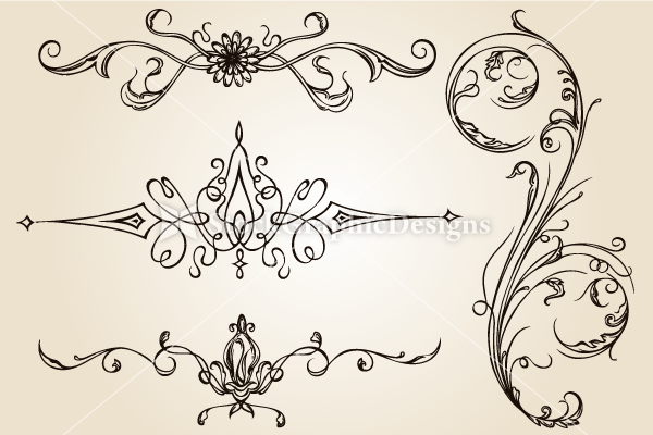 Calligraphic Design Elements Vector Set-1 | Vector
