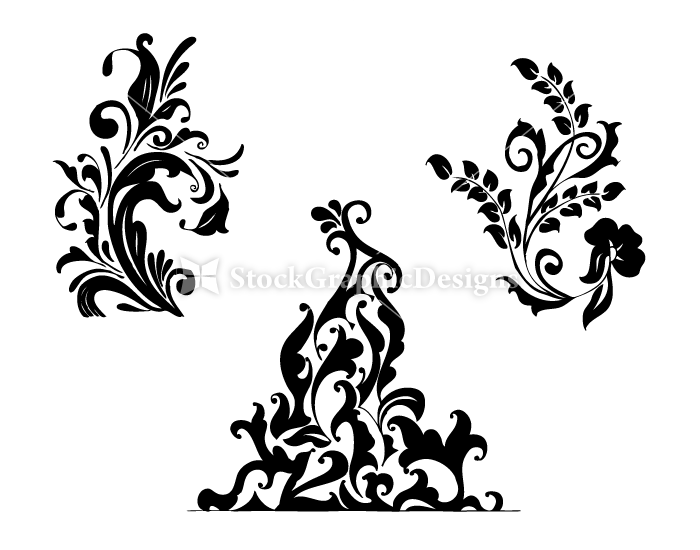 Line Drawing Flower Vector : Hand drawn floral corners u2013 set.5 vol : 1 vector & photoshop