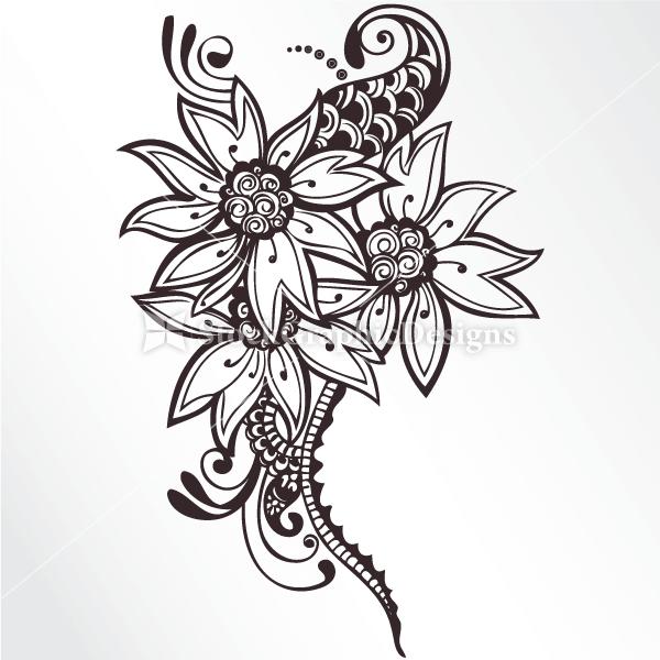 Hand Drawn Flowers Vector Set 1