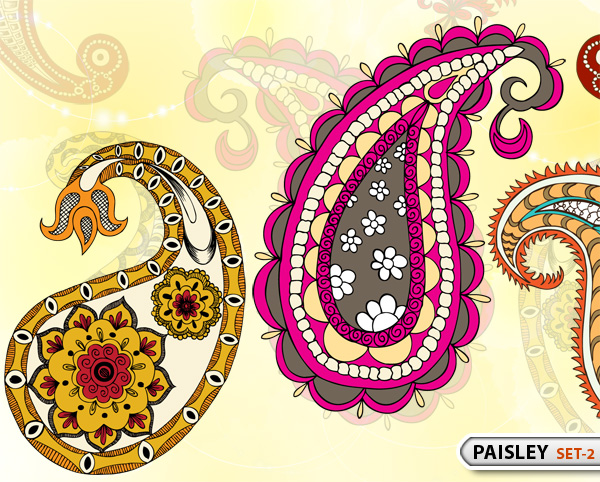 Paisley Designs Vector and Photoshop Brush Pack 2