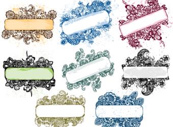 floral-grunge-text-banner-frame-vector-pack