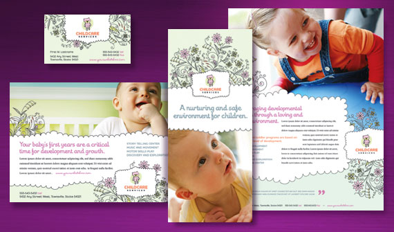 Baby & Child Day Care Brochure, Newsletter, Flyer & Ads, and Stationery Designs