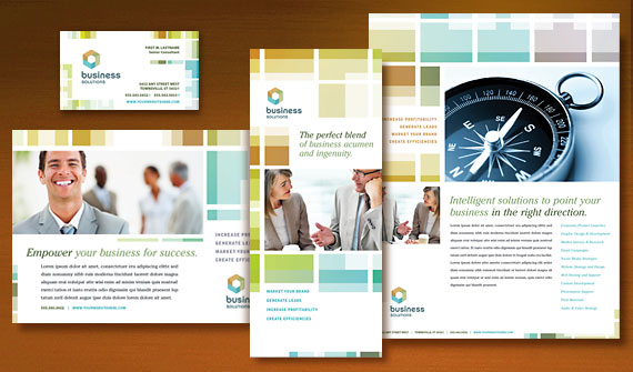 Business Solutions Consultant Brochure, Postcard, Flyer & Ads, Newsletter, Tri-Fold Brochure and Stationery Designs