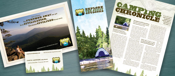 Campgrounds, Parks & Recreation Brochure, Postcard, Newsletter and Stationery Designs