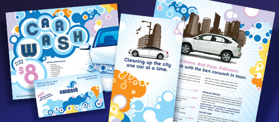 Car Wash Brochure, Postcard, Poster, Stationery and Flyer & Ads Designs