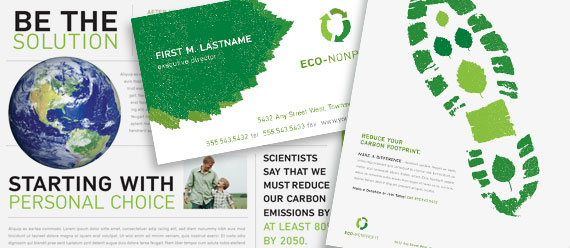 Environmental Non-Profit Brochure, Newsletter, Flyer & Ads, and Stationery Designs